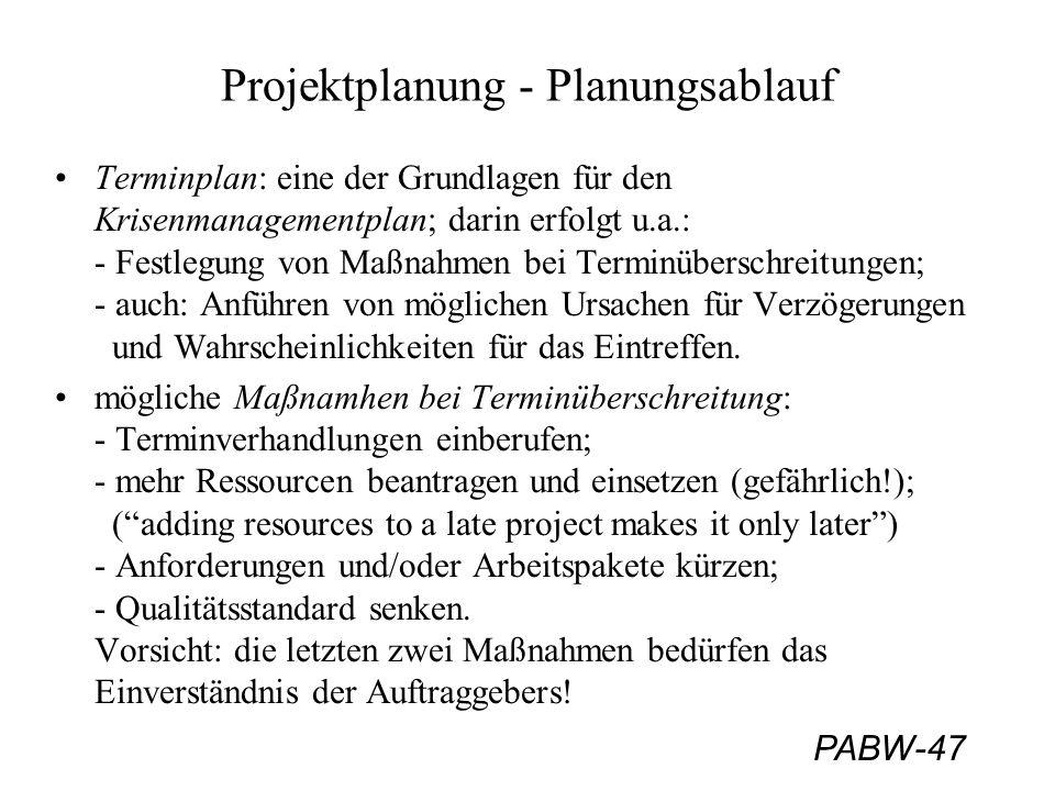 PABW-47 Projektplanung - Planungsablauf Terminplan: eine der Grundlagen für den Krisenmanagementplan; darin erfolgt u.a.: - Festlegung von Maßnahmen bei Terminüberschreitungen; - auch: Anführen von möglichen Ursachen für Verzögerungen und Wahrscheinlichkeiten für das Eintreffen.