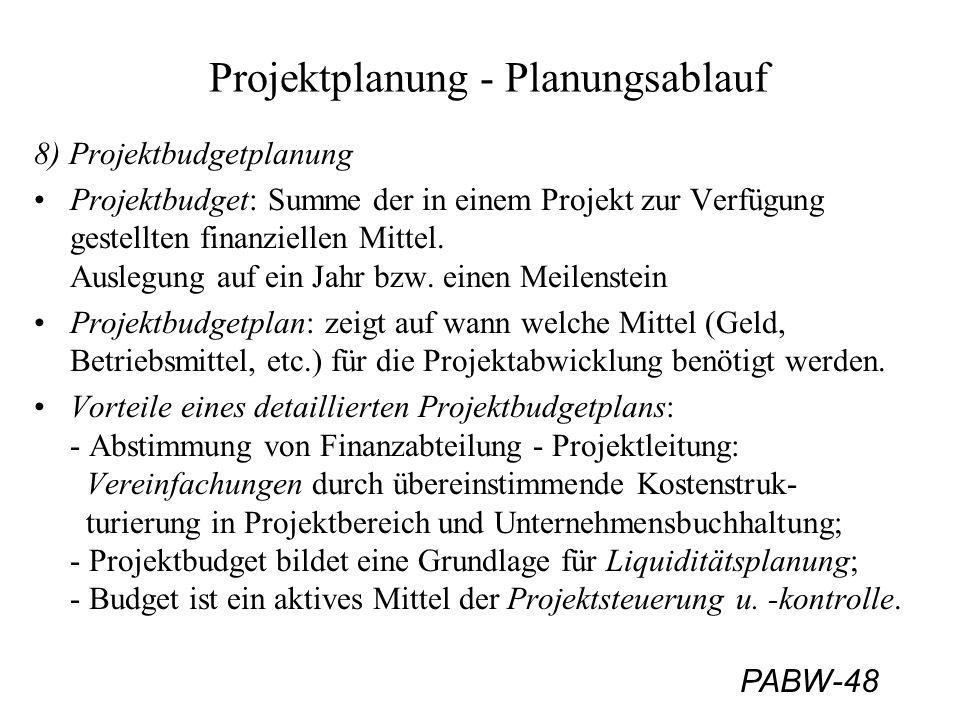 PABW-48 Projektplanung - Planungsablauf 8) Projektbudgetplanung Projektbudget: Summe der in einem Projekt zur Verfügung gestellten finanziellen Mittel.