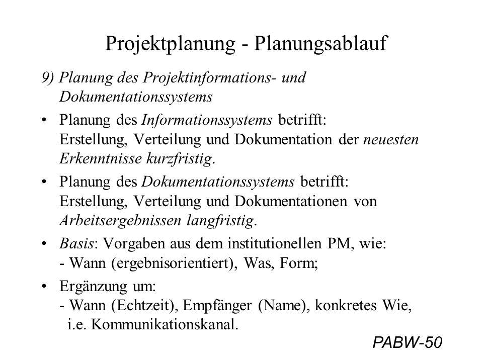 PABW-50 Projektplanung - Planungsablauf 9) Planung des Projektinformations- und Dokumentationssystems Planung des Informationssystems betrifft: Erstellung, Verteilung und Dokumentation der neuesten Erkenntnisse kurzfristig.