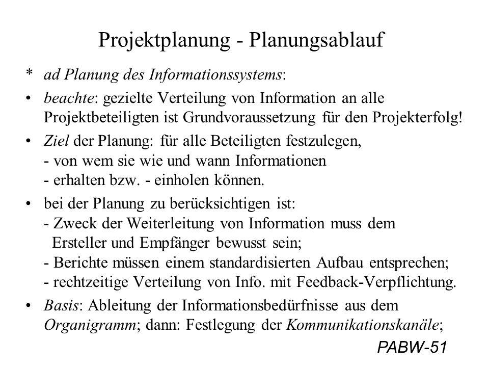 PABW-51 Projektplanung - Planungsablauf *ad Planung des Informationssystems: beachte: gezielte Verteilung von Information an alle Projektbeteiligten ist Grundvoraussetzung für den Projekterfolg.