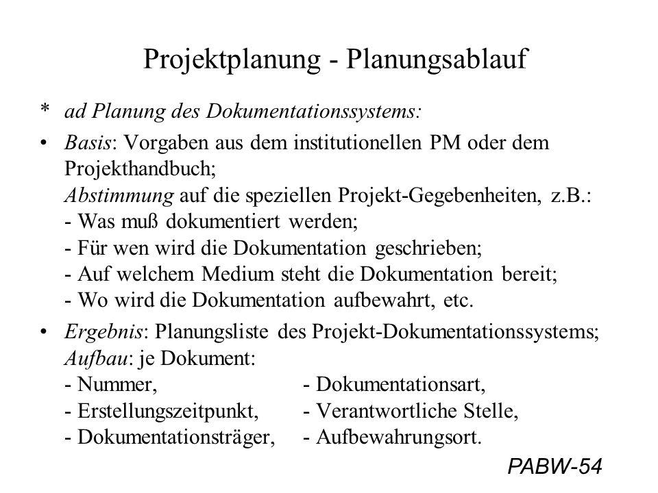 PABW-54 Projektplanung - Planungsablauf *ad Planung des Dokumentationssystems: Basis: Vorgaben aus dem institutionellen PM oder dem Projekthandbuch; Abstimmung auf die speziellen Projekt-Gegebenheiten, z.B.: - Was muß dokumentiert werden; - Für wen wird die Dokumentation geschrieben; - Auf welchem Medium steht die Dokumentation bereit; - Wo wird die Dokumentation aufbewahrt, etc.