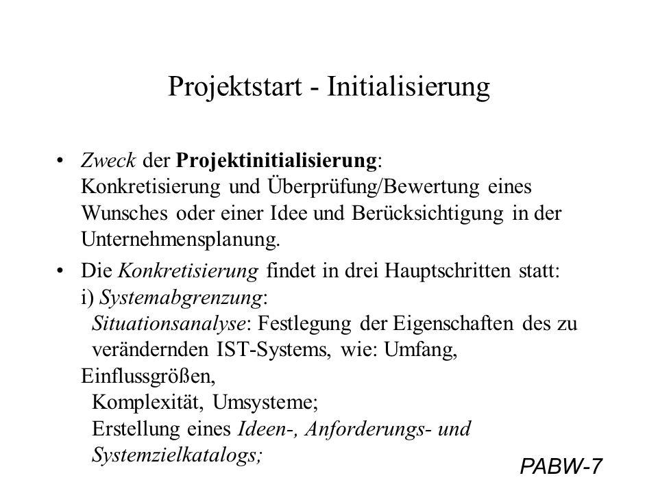PABW-7 Projektstart - Initialisierung Zweck der Projektinitialisierung: Konkretisierung und Überprüfung/Bewertung eines Wunsches oder einer Idee und Berücksichtigung in der Unternehmensplanung.