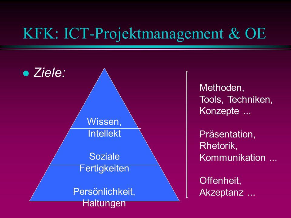 KFK: ICT-Projektmanagement & OE l Ziele: Wissen, Intellekt Soziale Fertigkeiten Persönlichkeit, Haltungen Methoden, Tools, Techniken, Konzepte...
