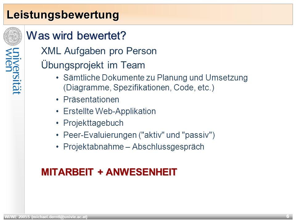 WI/WE 2005S (michael.derntl@univie.ac.at) 6 Leistungsbewertung Was wird bewertet.
