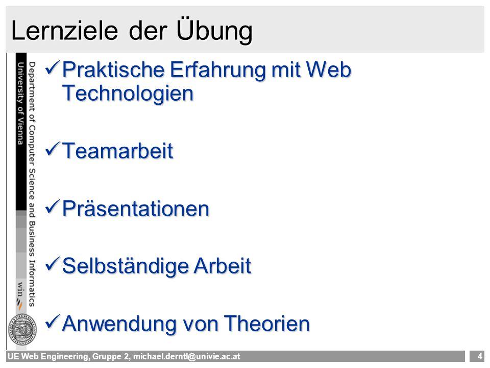 UE Web Engineering, Gruppe 2, michael.derntl@univie.ac.at5 Technologien & Tools XML –Unterstützung/Tools auf der UE-Plattform Analyse und Design mit UML –Rational Rose (Hs27) Clientseitige Web-Programmierung –HTML Serverseitige Web-Programmierung auf almighty.pri.univie.ac.at –PHP 4.3.3 –Java AXIS 1.4 (SOAP) –andere Technologien möglich
