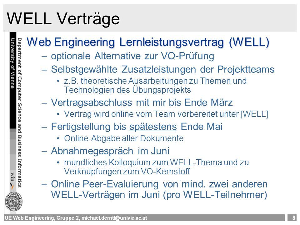 UE Web Engineering, Gruppe 2, michael.derntl@univie.ac.at9 Erste Aufgaben 1.Teams zusammenstellen online unter [Teilnehmer] je 3 Teilnehmer (in Ausnahmefällen auch 4) 2.Fragebogen ausfüllen online unter [Fragebogen] 3.Erste Überlegungen zum Projekt Themenvorschlag, Projektidee Kurze Präsentation der Projektidee übernächste Woche (~5 Minuten pro Team) 4.Überlegungen zu WELL Wollen wir mitmachen.