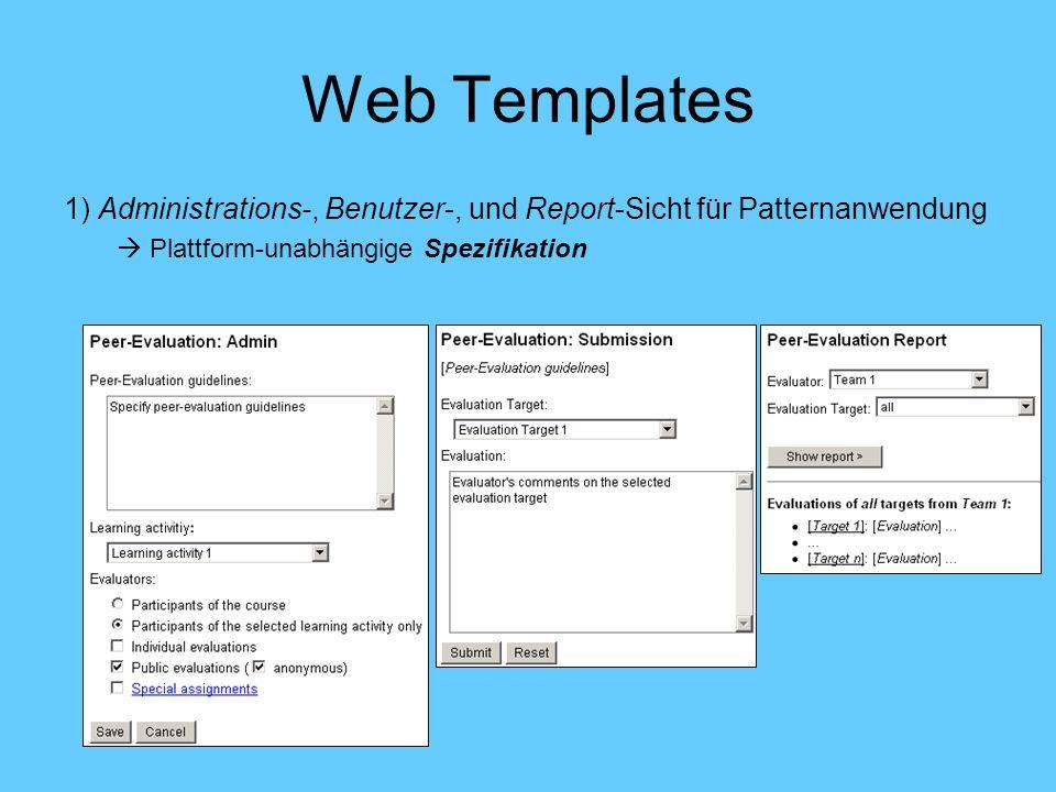 Web Templates 1) Administrations-, Benutzer-, und Report-Sicht für Patternanwendung Plattform-unabhängige Spezifikation