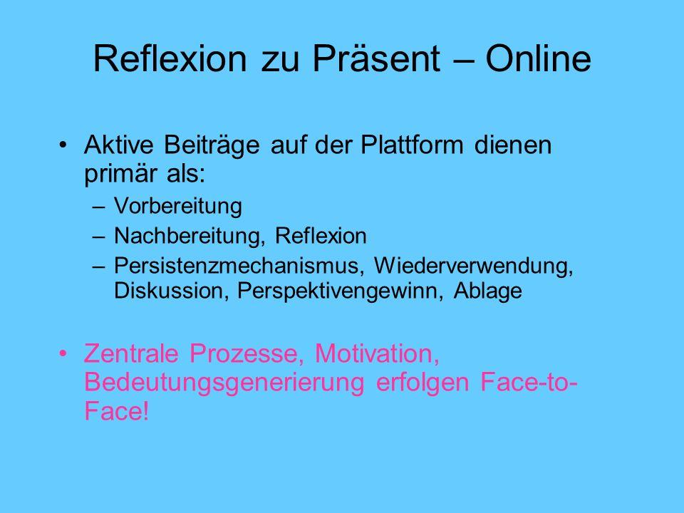 Reflexion zu Präsent – Online Aktive Beiträge auf der Plattform dienen primär als: –Vorbereitung –Nachbereitung, Reflexion –Persistenzmechanismus, Wiederverwendung, Diskussion, Perspektivengewinn, Ablage Zentrale Prozesse, Motivation, Bedeutungsgenerierung erfolgen Face-to- Face!