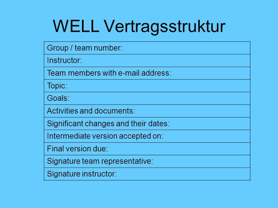 WELL Vertragsstruktur Group / team number: Instructor: Team members with e-mail address: Topic: Goals: Activities and documents: Significant changes and their dates: Intermediate version accepted on: Final version due: Signature team representative: Signature instructor: