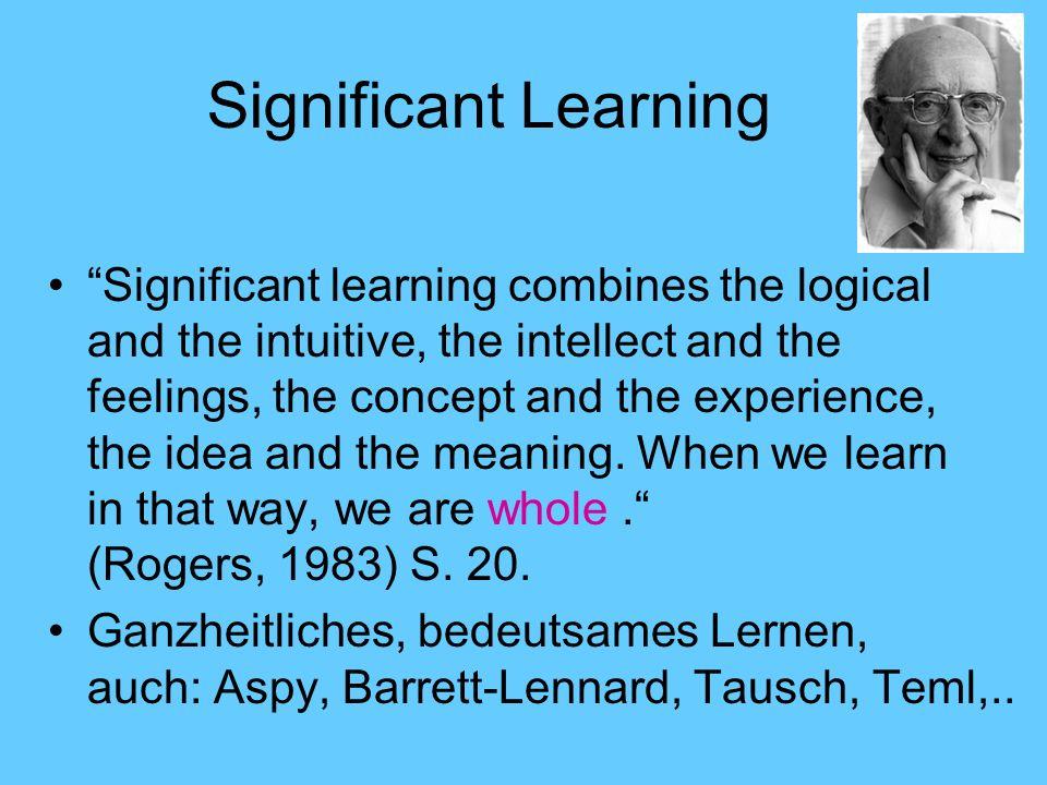 Ebenen des signifikanten Lernens Wissen Soziale Fertigkeiten Persönlichkeit, Dispositionen I II III Signifikantes Lernen berücksichtigt alle drei Ebenen.
