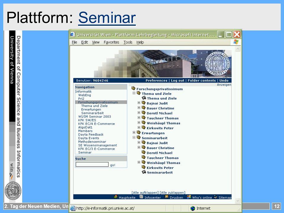 2. Tag der Neuen Medien, Uni Wien12 Plattform: Seminar Seminar