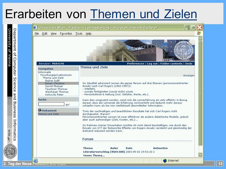 2. Tag der Neuen Medien, Uni Wien13 Erarbeiten von Themen und Zielen Themen und ZielenThemen und Zielen