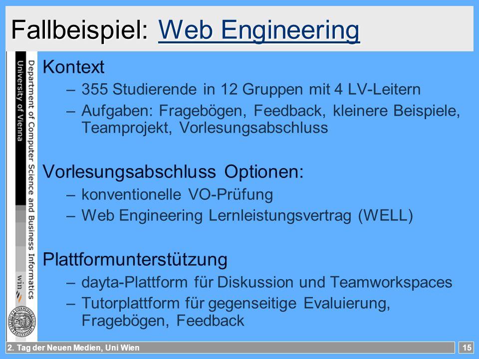 2. Tag der Neuen Medien, Uni Wien15 Fallbeispiel: Web Engineering Web EngineeringWeb Engineering Kontext –355 Studierende in 12 Gruppen mit 4 LV-Leite