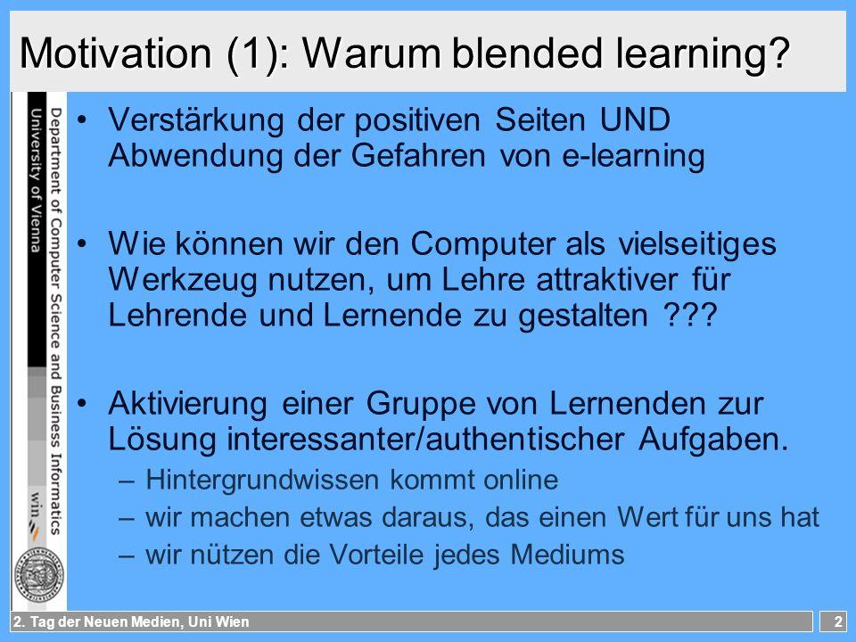 2.Tag der Neuen Medien, Uni Wien3 Motivation (2): Wie Forschung dazu.