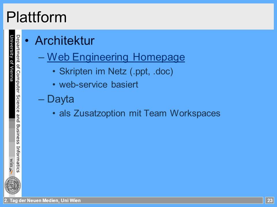 2. Tag der Neuen Medien, Uni Wien23 Plattform Architektur –Web Engineering HomepageWeb Engineering Homepage Skripten im Netz (.ppt,.doc) web-service b