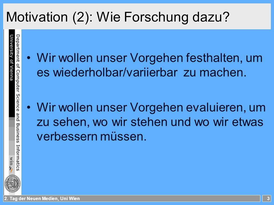 2.Tag der Neuen Medien, Uni Wien4 Motivation (3): Wie Forschung dazu.