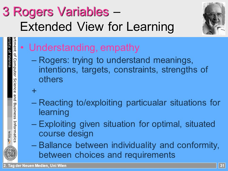 2. Tag der Neuen Medien, Uni Wien31 3 Rogers Variables – Extended View for Learning Understanding, empathy –Rogers: trying to understand meanings, int