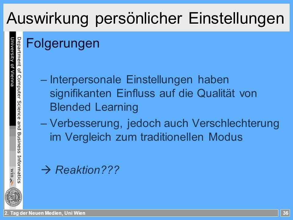2. Tag der Neuen Medien, Uni Wien36 Auswirkung persönlicher Einstellungen Folgerungen –Interpersonale Einstellungen haben signifikanten Einfluss auf d