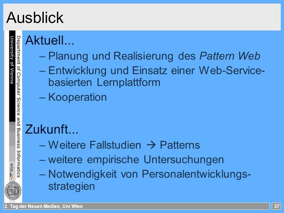 2.Tag der Neuen Medien, Uni Wien37 Ausblick Aktuell...