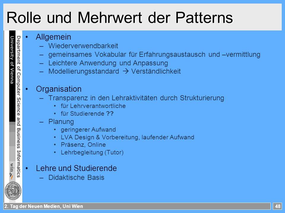 2. Tag der Neuen Medien, Uni Wien48 Rolle und Mehrwert der Patterns Allgemein –Wiederverwendbarkeit –gemeinsames Vokabular für Erfahrungsaustausch und