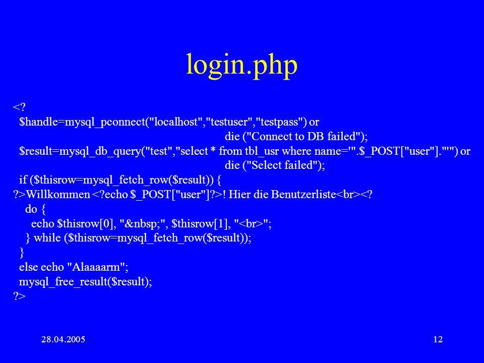 28.04.200512 login.php <? $handle=mysql_pconnect(