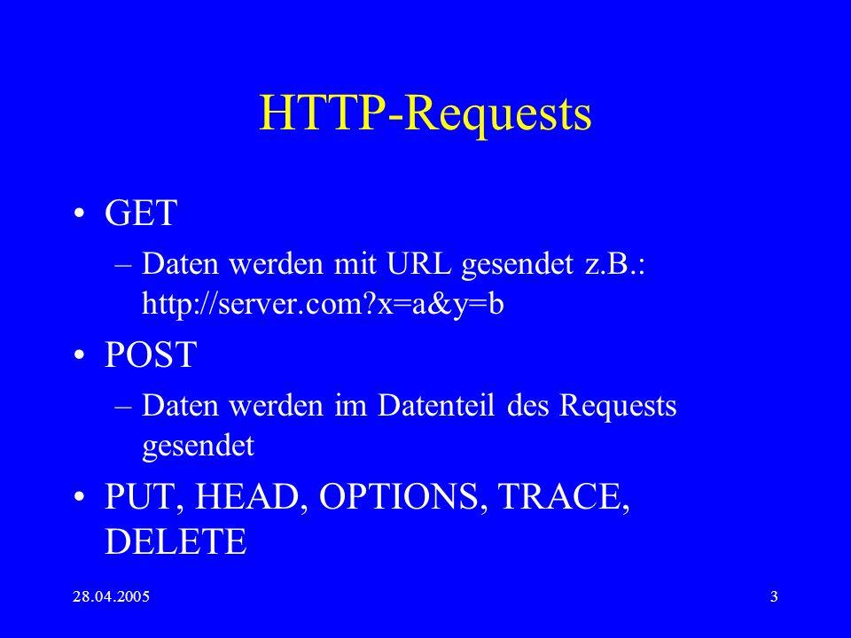 28.04.20053 HTTP-Requests GET –Daten werden mit URL gesendet z.B.: http://server.com?x=a&y=b POST –Daten werden im Datenteil des Requests gesendet PUT