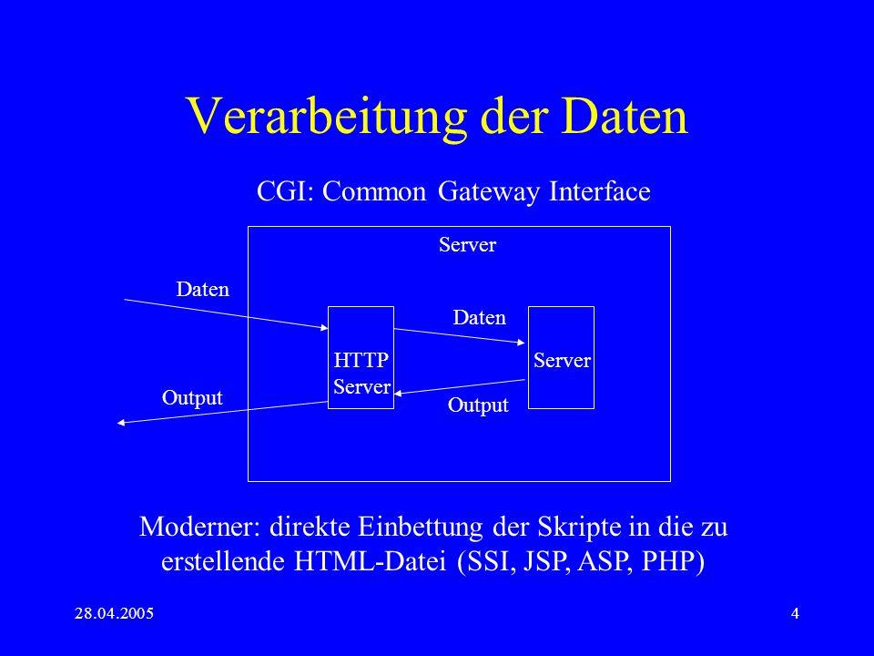 28.04.20054 Verarbeitung der Daten Server HTTP Server CGI: Common Gateway Interface Daten Output Moderner: direkte Einbettung der Skripte in die zu er
