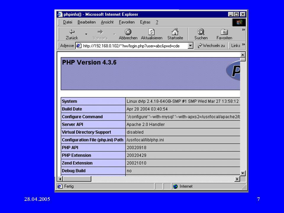 28.04.200518 Arbeiten mit XML Wie normale Textdatei bearbeiten -> mühsam Document Object Model Mittels XSLT