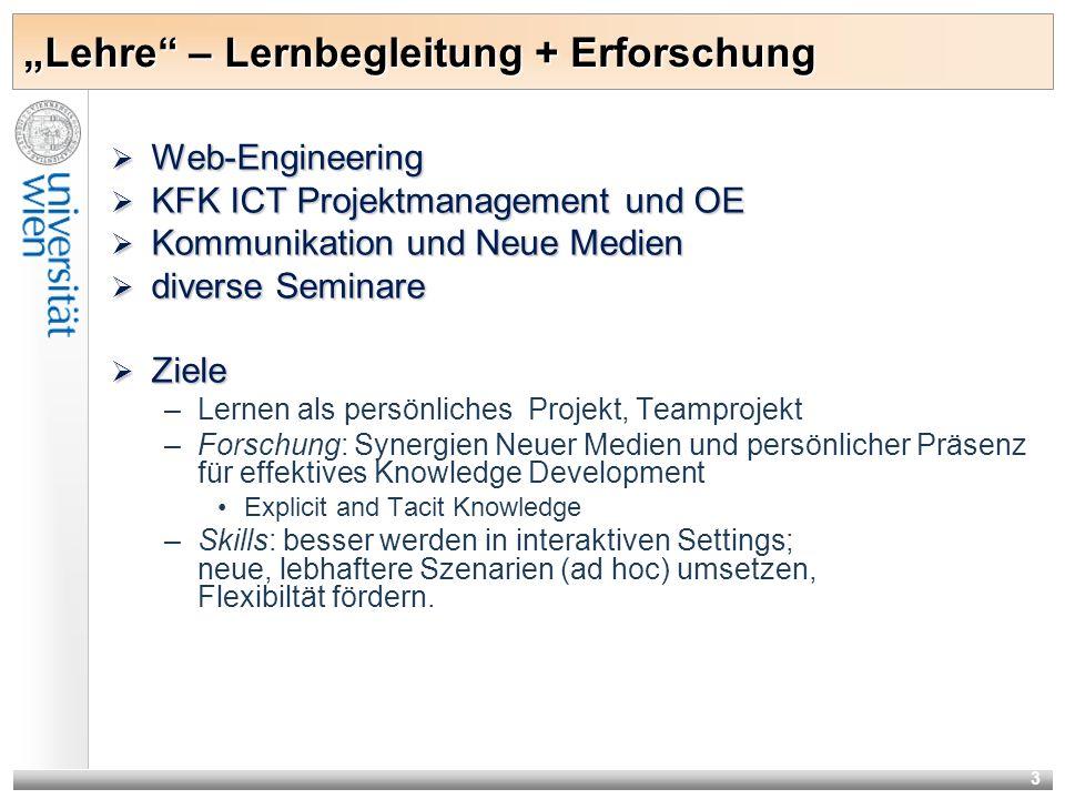 3 Lehre – Lernbegleitung + Erforschung Web-Engineering Web-Engineering KFK ICT Projektmanagement und OE KFK ICT Projektmanagement und OE Kommunikation