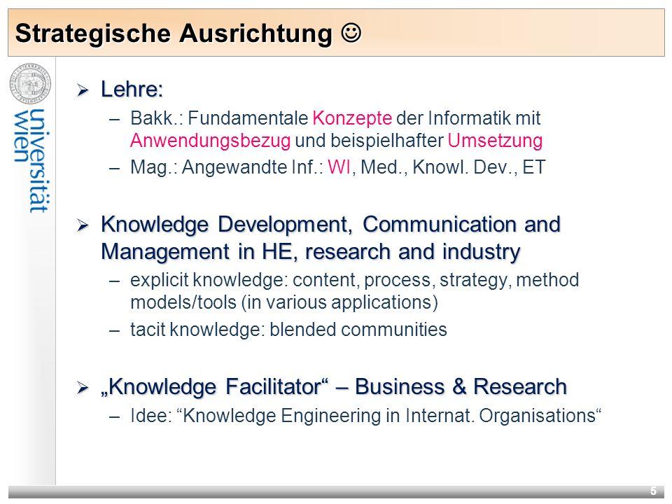 5 Strategische Ausrichtung Strategische Ausrichtung Lehre: Lehre: –Bakk.: Fundamentale Konzepte der Informatik mit Anwendungsbezug und beispielhafter