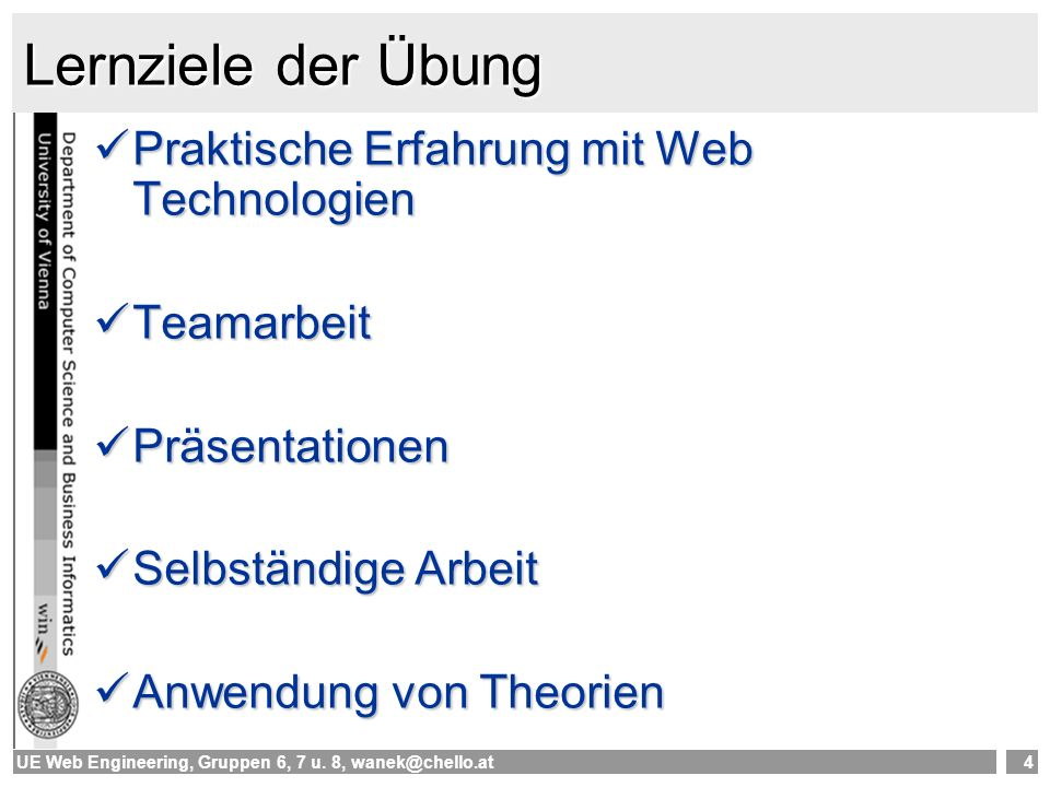 UE Web Engineering, Gruppen 6, 7 u.