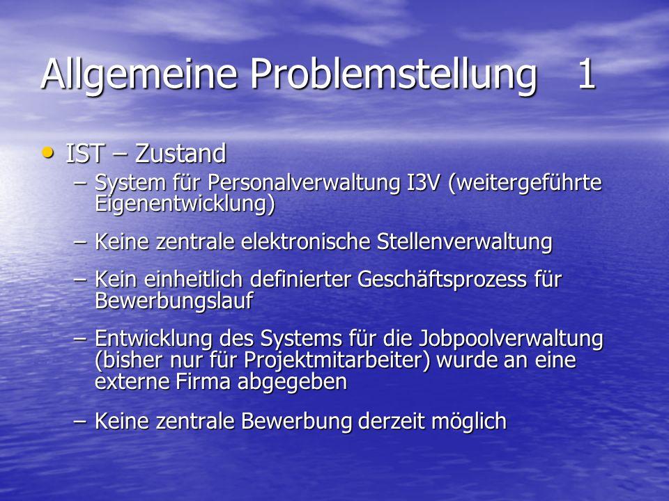 Allgemeine Problemstellung 1 IST – Zustand IST – Zustand –System für Personalverwaltung I3V (weitergeführte Eigenentwicklung) –Keine zentrale elektron