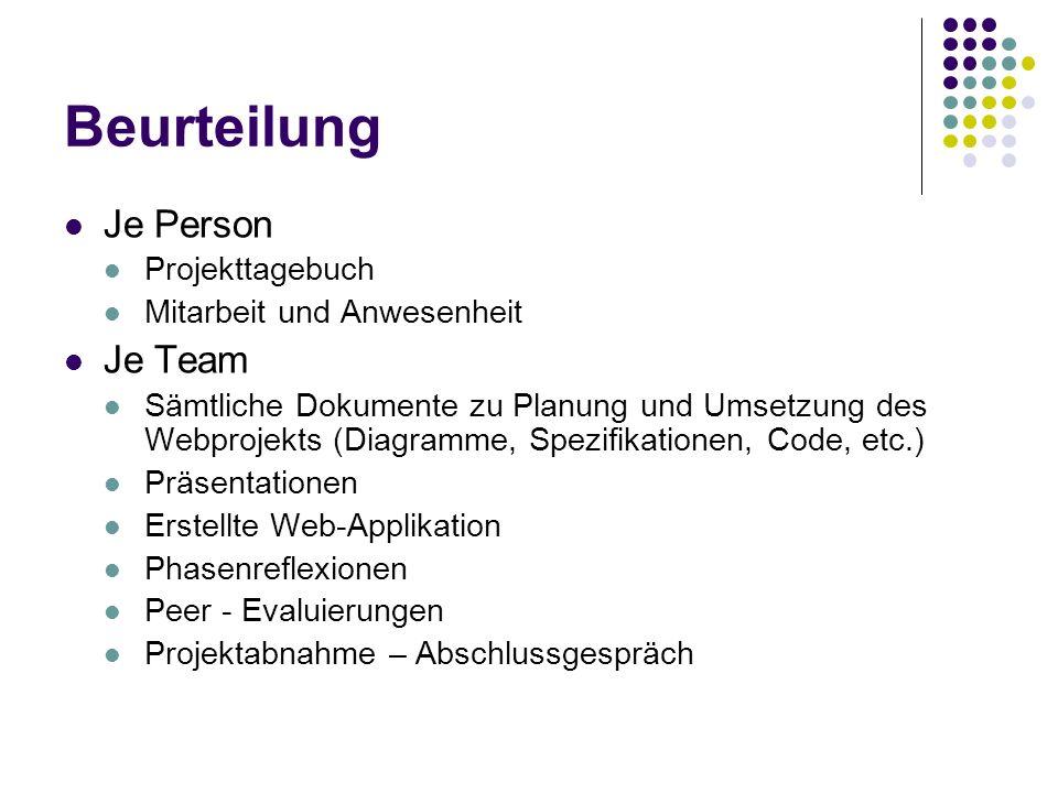 Beurteilung Je Person Projekttagebuch Mitarbeit und Anwesenheit Je Team Sämtliche Dokumente zu Planung und Umsetzung des Webprojekts (Diagramme, Spezifikationen, Code, etc.) Präsentationen Erstellte Web-Applikation Phasenreflexionen Peer - Evaluierungen Projektabnahme – Abschlussgespräch