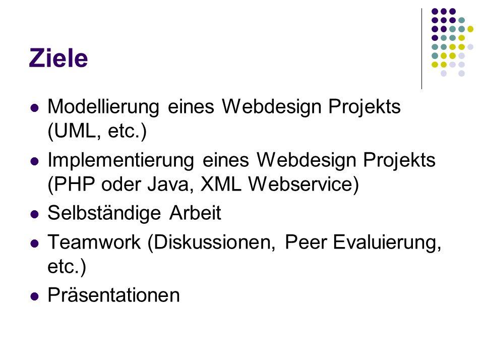 Ziele Modellierung eines Webdesign Projekts (UML, etc.) Implementierung eines Webdesign Projekts (PHP oder Java, XML Webservice) Selbständige Arbeit Teamwork (Diskussionen, Peer Evaluierung, etc.) Präsentationen