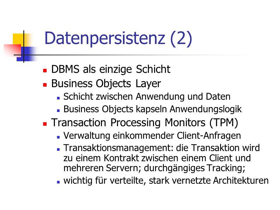 Datenpersistenz (2) DBMS als einzige Schicht Business Objects Layer Schicht zwischen Anwendung und Daten Business Objects kapseln Anwendungslogik Tran
