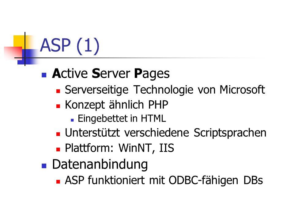 ASP (1) Active Server Pages Serverseitige Technologie von Microsoft Konzept ähnlich PHP Eingebettet in HTML Unterstützt verschiedene Scriptsprachen Pl