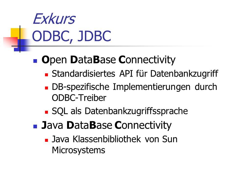Exkurs ODBC, JDBC Open DataBase Connectivity Standardisiertes API für Datenbankzugriff DB-spezifische Implementierungen durch ODBC-Treiber SQL als Dat