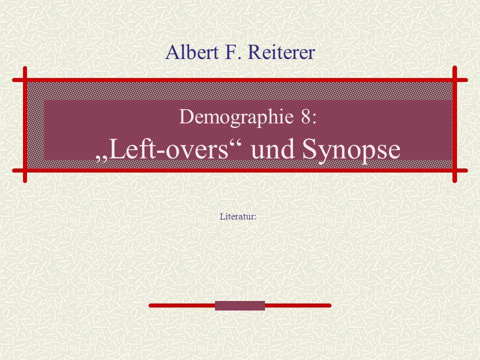 Demographie 8: Left-overs und Synopse Albert F. Reiterer Literatur: