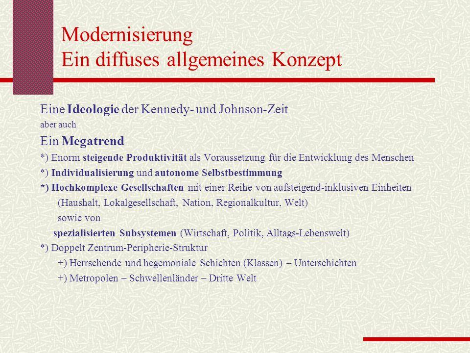 Modernisierung Ein diffuses allgemeines Konzept Eine Ideologie der Kennedy- und Johnson-Zeit aber auch Ein Megatrend *) Enorm steigende Produktivität