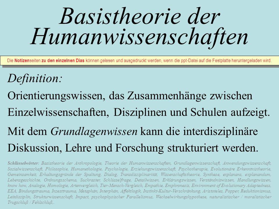 Basistheorie der Humanwissenschaften Definition: Orientierungswissen, das Zusammenhänge zwischen Einzelwissenschaften, Disziplinen und Schulen aufzeig