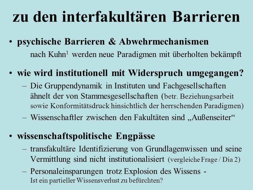 zu den interfakultären Barrieren psychische Barrieren & Abwehrmechanismen nach Kuhn 1 werden neue Paradigmen mit überholten bekämpft wie wird institut