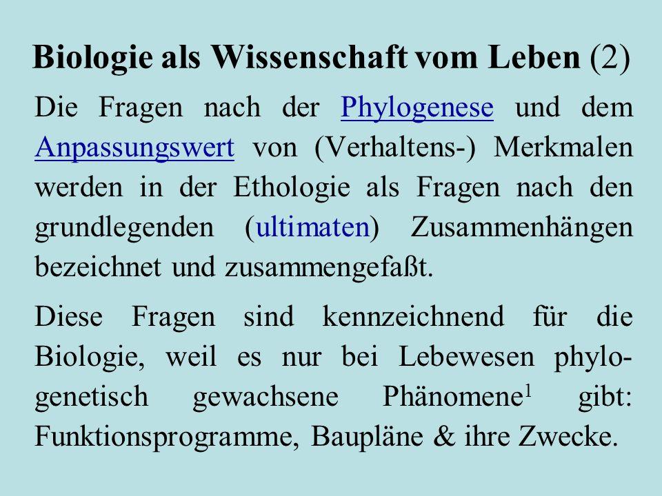 Biologie als Wissenschaft vom Leben (2) Die Fragen nach der Phylogenese und dem Anpassungswert von (Verhaltens-) Merkmalen werden in der Ethologie als Fragen nach den grundlegenden (ultimaten) Zusammenhängen bezeichnet und zusammengefaßt.