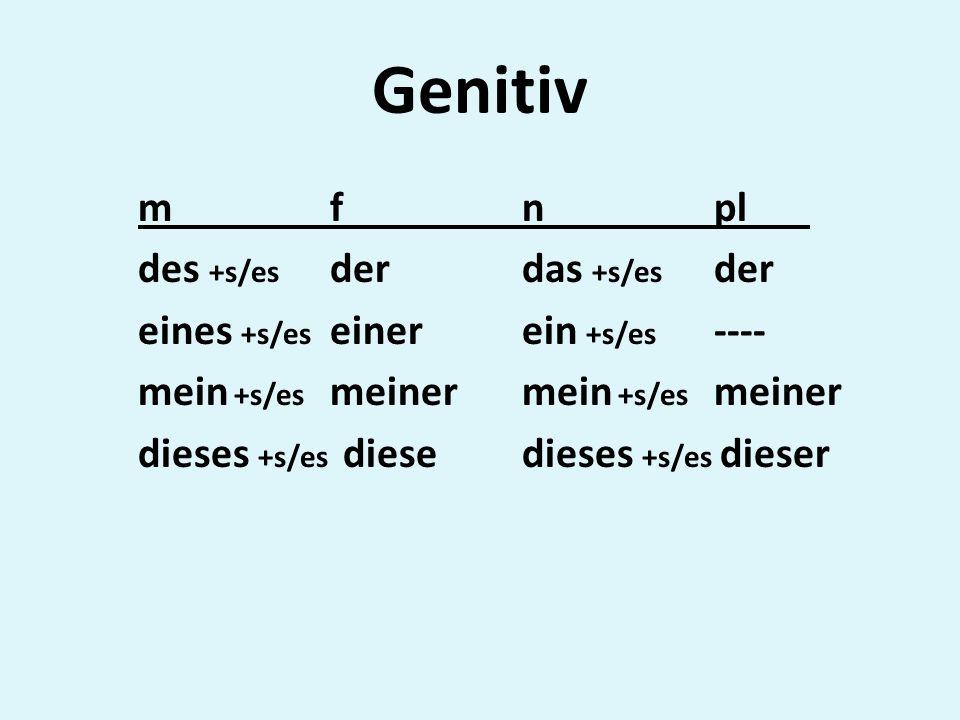 Genitiv mfnpl des +s/es derdas +s/es der eines +s/es einer ein +s/es ---- mein +s/es meiner dieses +s/es diesedieses +s/es dieser
