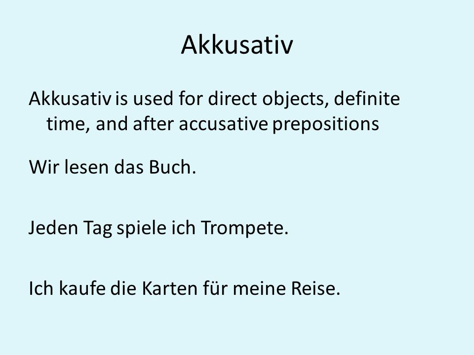 Akkusativ Identify the subject and direct objects in the following sentences by putting and S above the subject and a DO above the direct object.
