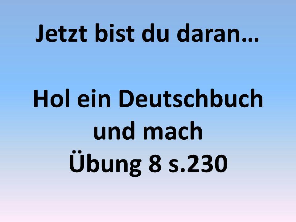 Jetzt bist du daran… Hol ein Deutschbuch und mach Übung 8 s.230