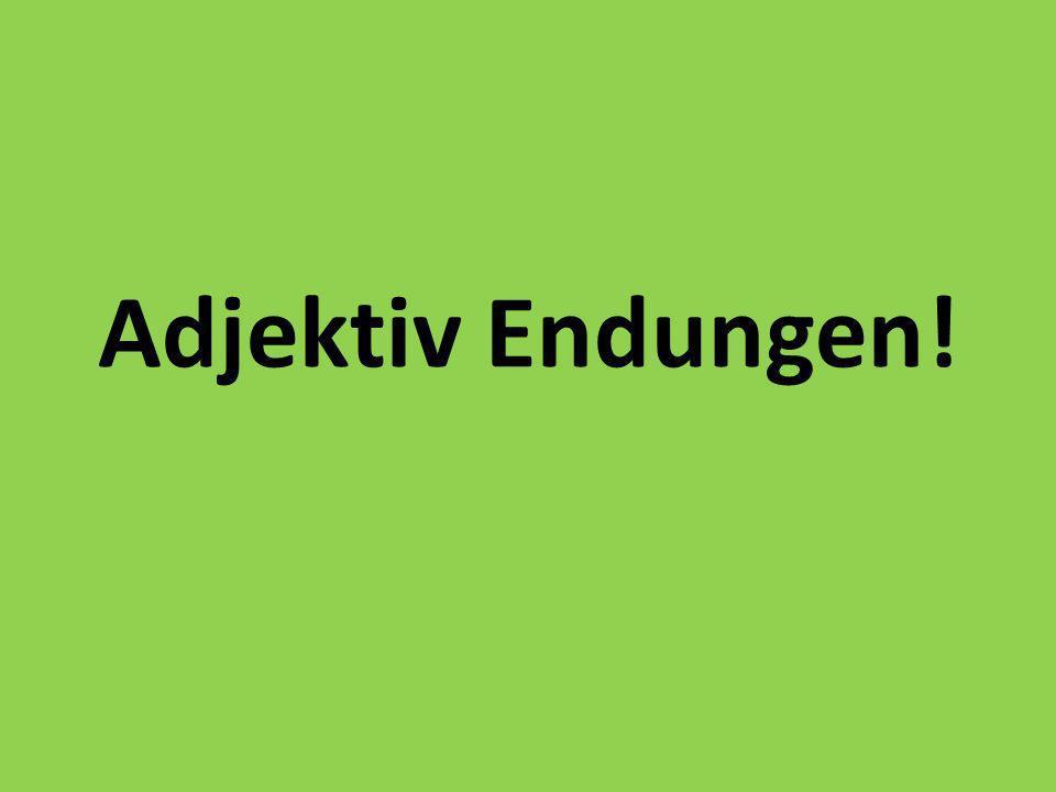 Adjektiv Endungen!