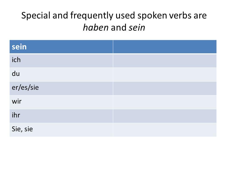 Special and frequently used spoken verbs are haben and sein sein ich du er/es/sie wir ihr Sie, sie