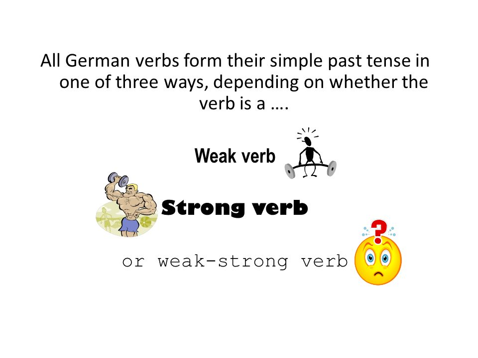 The German weak verbs all follow a basic, predictable pattern.