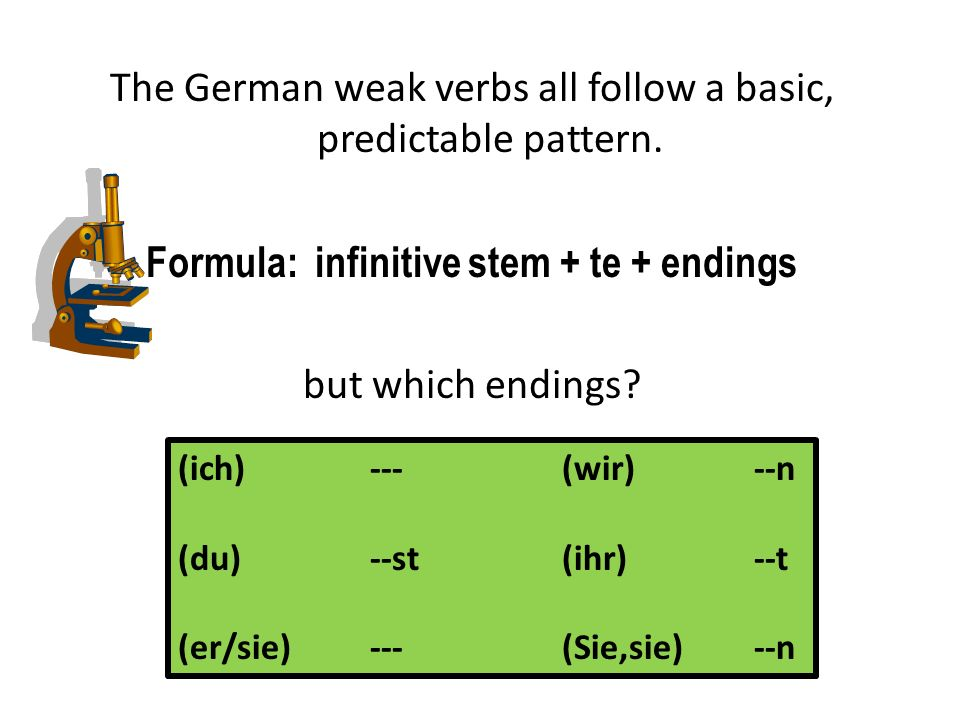 Weak Verbs: What commonalities do you notice in the forms.