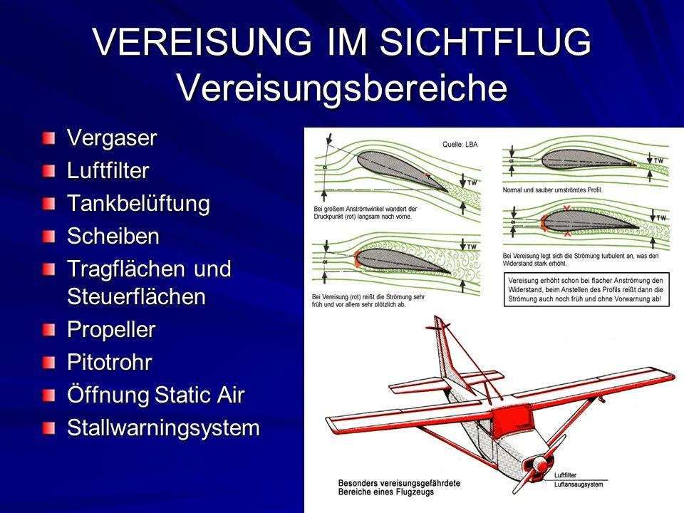 VEREISUNG IM SICHTFLUG Vereisungsbereiche VergaserLuftfilterTankbelüftungScheiben Tragflächen und Steuerflächen PropellerPitotrohr Öffnung Static Air